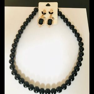 Costume jewelry black beaded necklace and earings